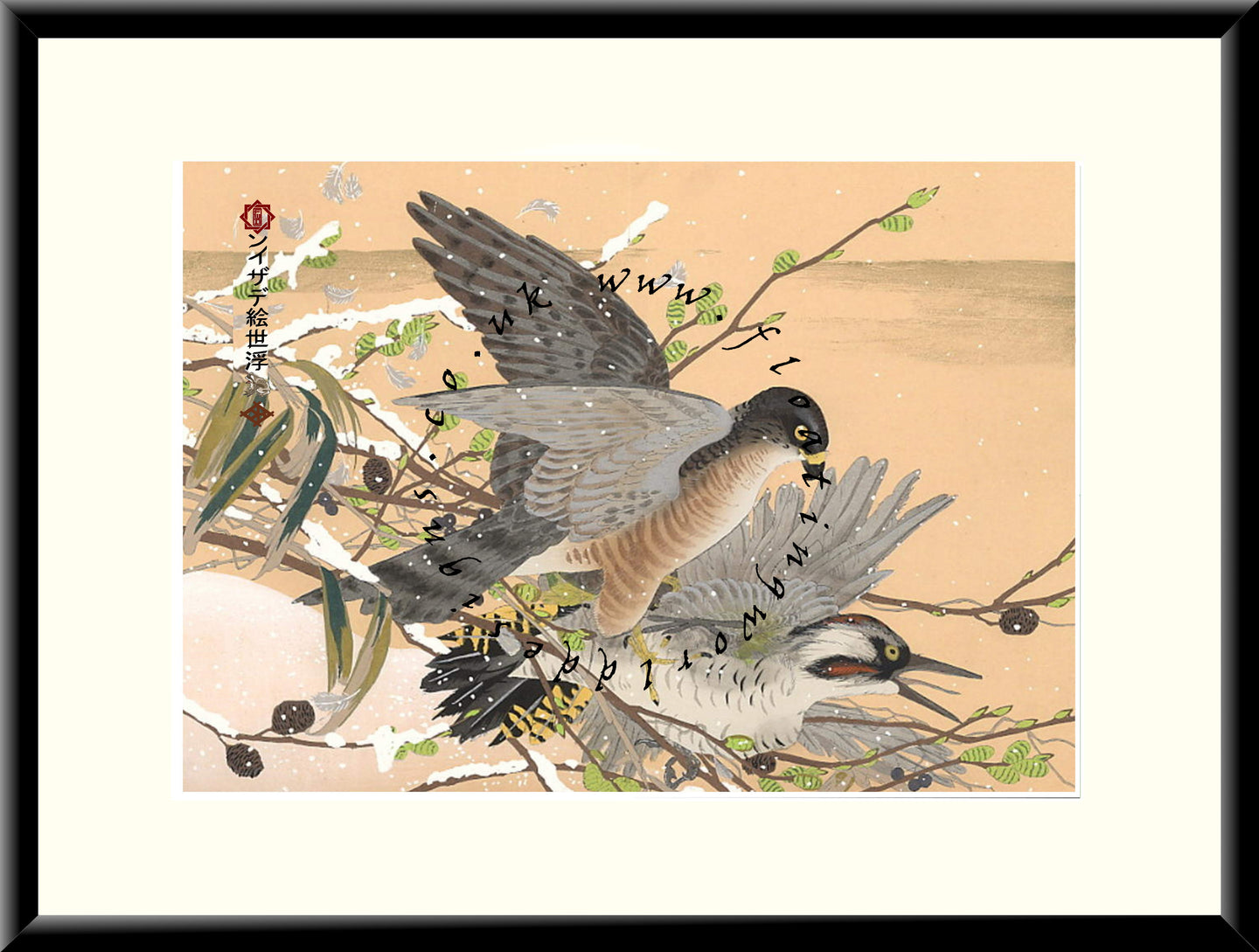 M-048 Hawk & Heron  Mounted or Framed Print