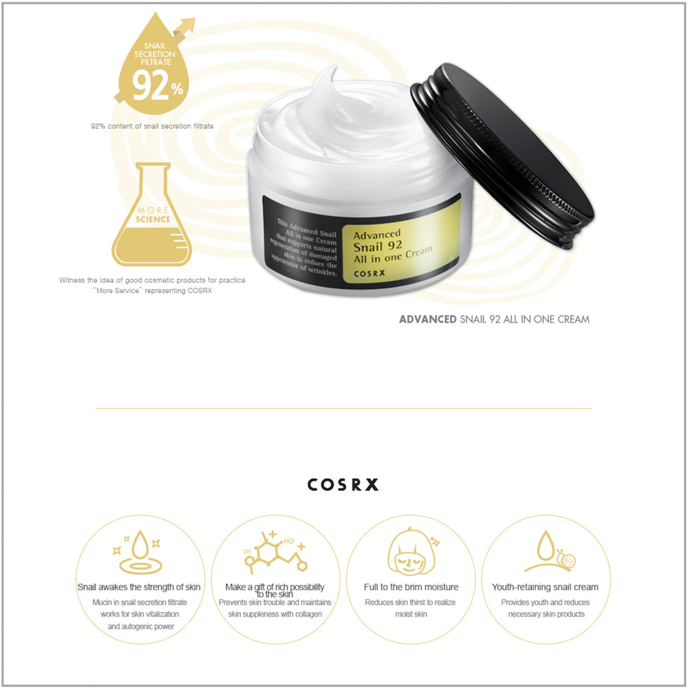 COSRX Advanced Snail 92 All In One Cream - www.Kskin.ie