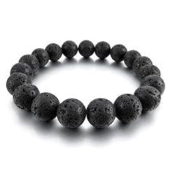 Large Lava Stone Bracelet-Large 12mm beads
