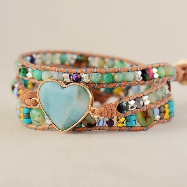Amazonite Heart Leather Wrap Bracelet