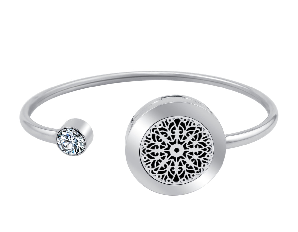 Essential Oil Diffuser Bangle - Mandala  with Crystal