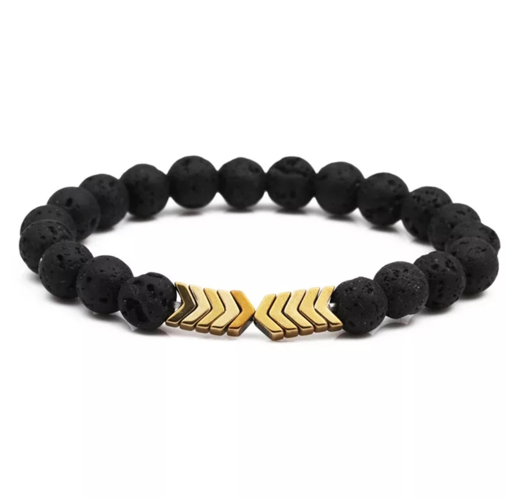 GOLD Arrow  Lava Stone Bracelet