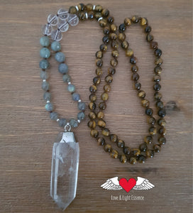 Mala Tiger's Eye & Crystal Necklace