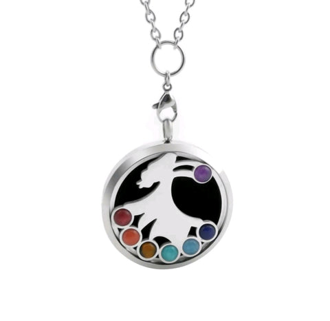 CHAKRA GEMSTONE Aromatherapy Necklace -Dancing Girl