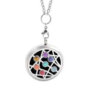 Chakra Gemstone Essential Oil Diffuser Necklace