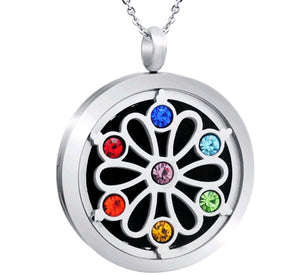 CHAKRA GEMSTONE Aromatherapy Necklace -Flower