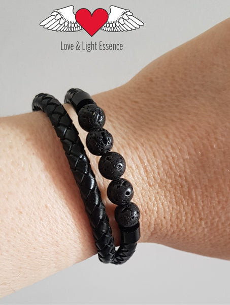 Lava Stone Double Wrap Braided Leather Bracelet