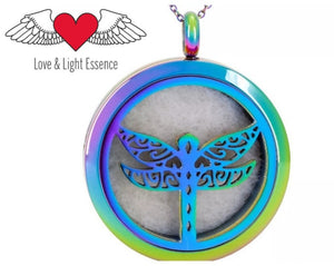Petite Diffuser Necklace - Rainbow Dragonfly