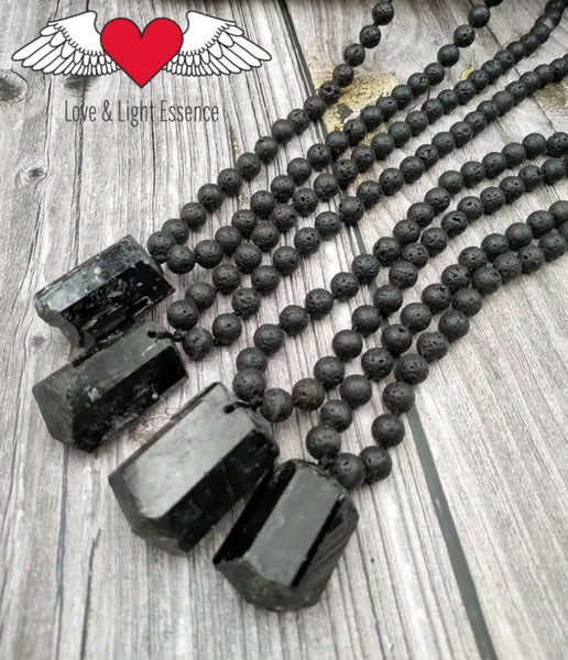 108 Mala Lava Stone & Black Tourmaline Crystal Necklace