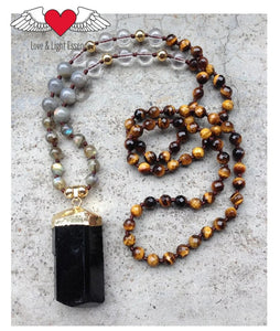 Tiger's Eye, Labradorite & Black Tourmaline  Mala Necklace