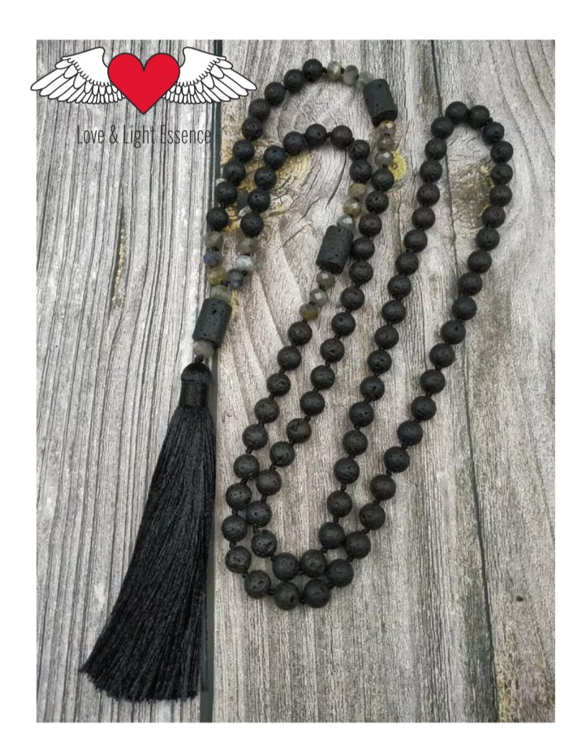 108 Natural Lava Stone & Labradorite Mala Necklace