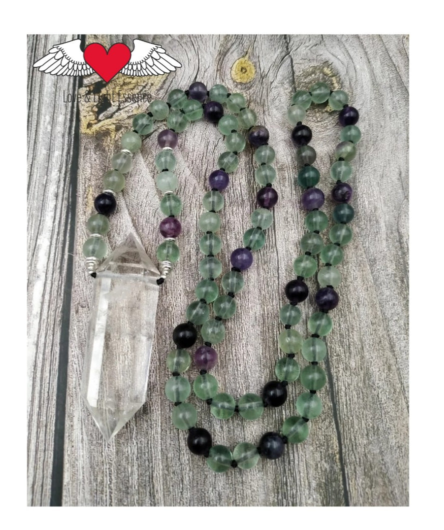 108 Flourite & Clear Quartz Mala Necklace