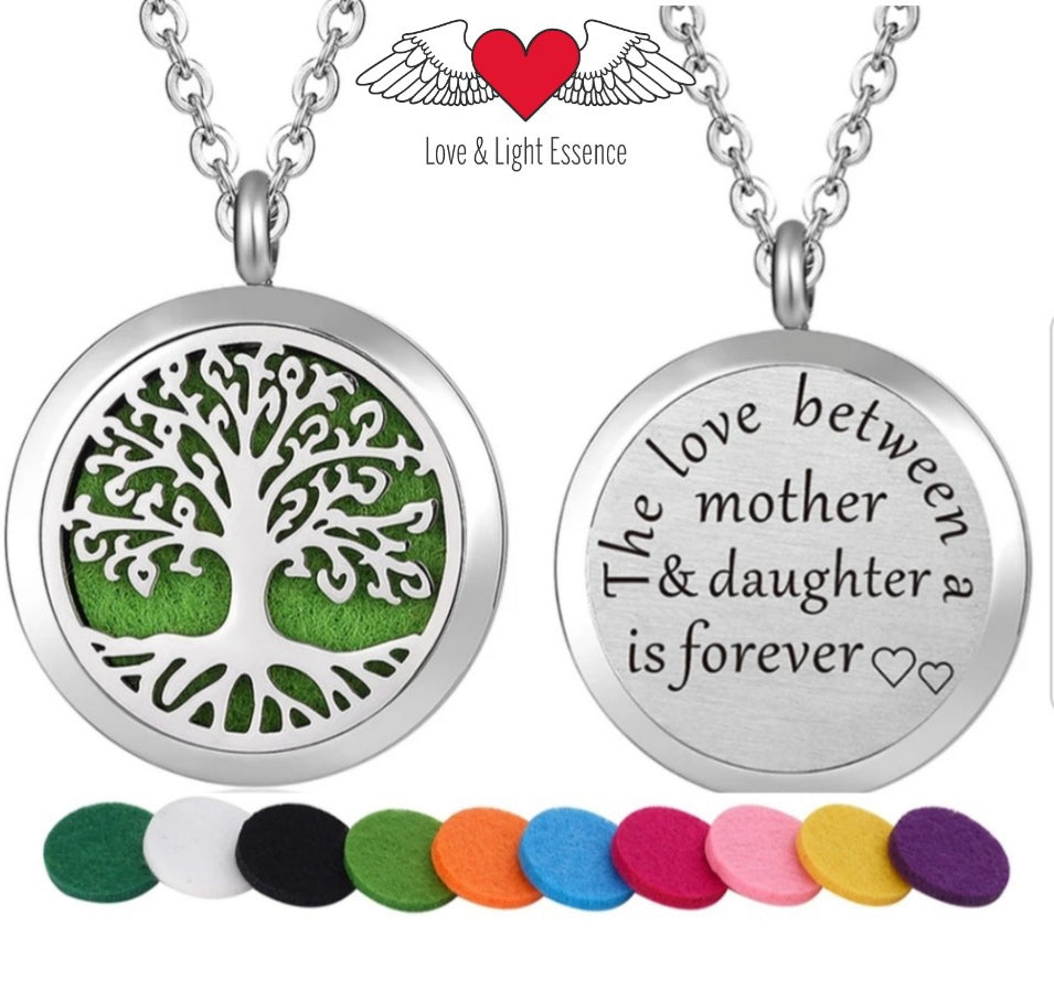 Affirmation- Essential Oil Diffuser Necklace- Tree of Life  Mother & Daughter