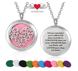 Inspirational Quote Essential Oil Diffuser Necklace - LOVE