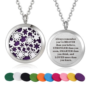 Inspirational Quote Essential Oil Diffuser Necklace- Flowers