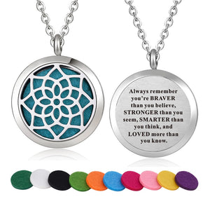 Inspirational Quote Essential Oil Diffuser Necklace- Flower of Life