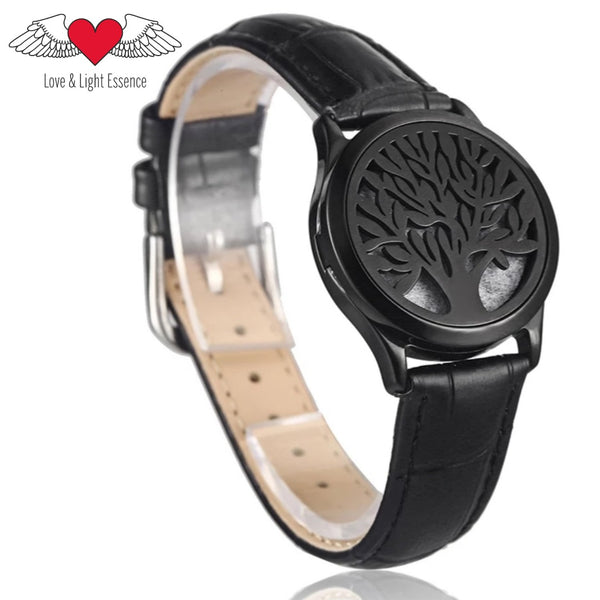 Essential Oil Diffuser Leather Bracelet- Tree of Life- Black