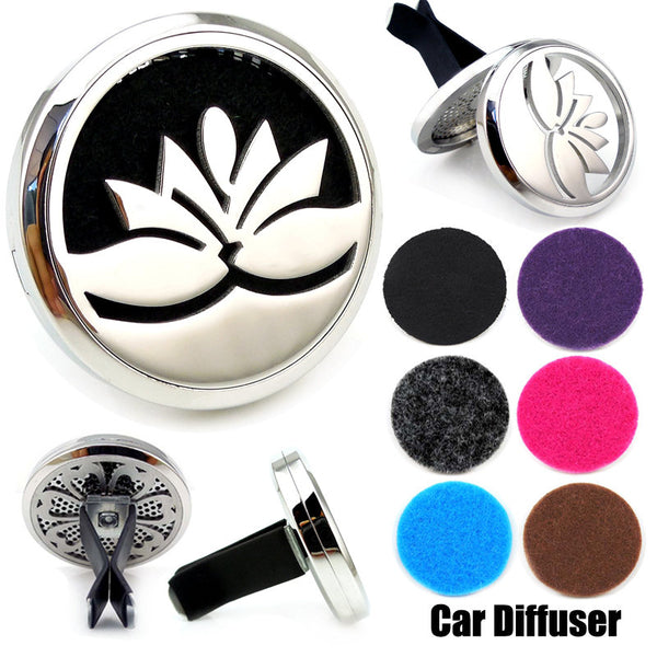 Love & Light Essence. Car Essential Oil Diffuser Jewelry Lotus Flower 2 Front, Side & Back View with Black Pad