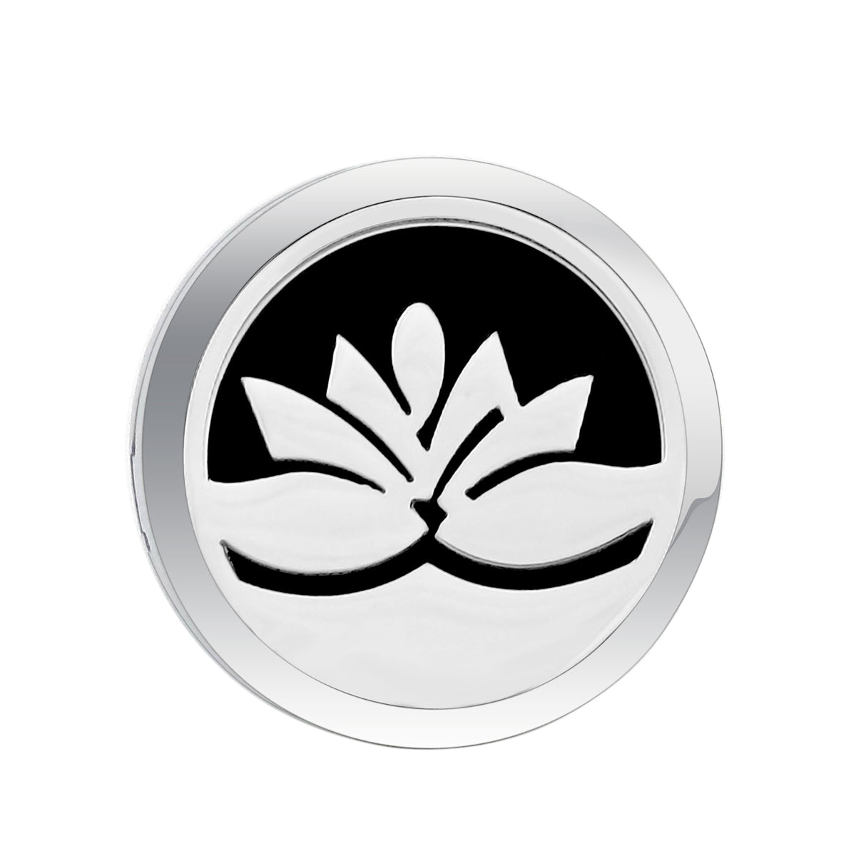 Love & Light Essence. Car Essential Oil Diffuser Jewelry Lotus Flower 2 Front View with Black Pad