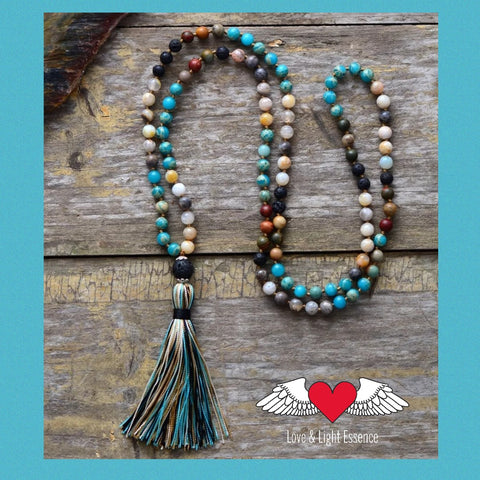 108 Mala Lava Stone & Gemstone Tassell Necklace