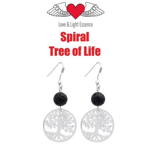 Lava Stone Diffuser Earrings- Spiral Tree