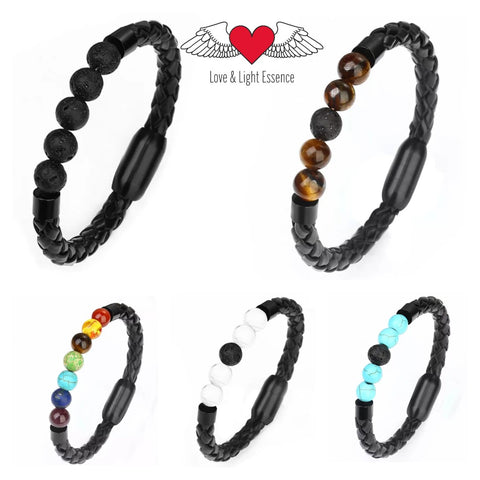 Genuine Leather & Lava Stone Bracelets