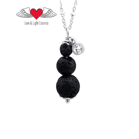 Lava Stone & Crystal Necklace