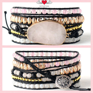 Rose Quartz,  Moonstone LOVE Wrap Bracelet