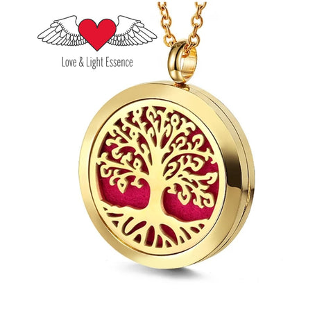 Essential Oil Diffuser Necklace - Gold Tree of Life