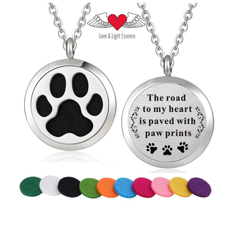 Affirmation- Essential Oil Diffuser Necklace- Paw prints