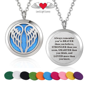 Affirmation- Essential Oil Diffuser Necklace - Angel Wings