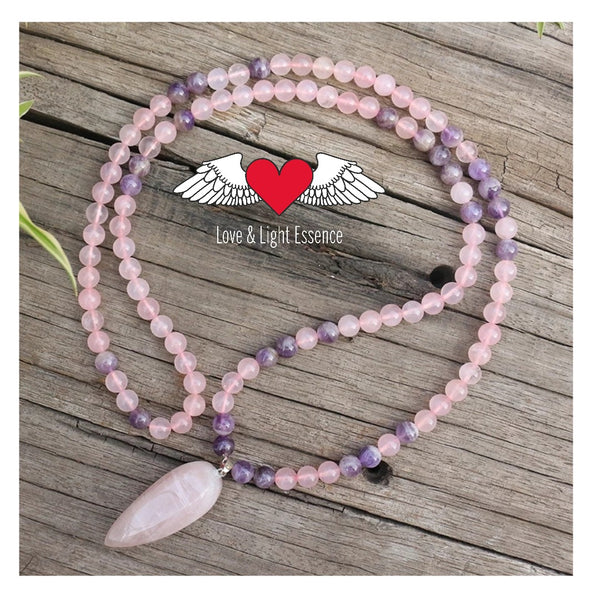 Rose Quartz & Amethyst 108 Mala Necklace