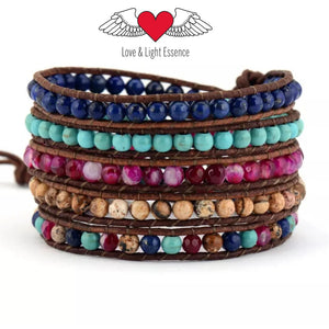 RAINBOW MAGIC LEATHER WRAP BRACELET