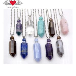 Crystal Gemstone Essential Oil Bottle Necklaces