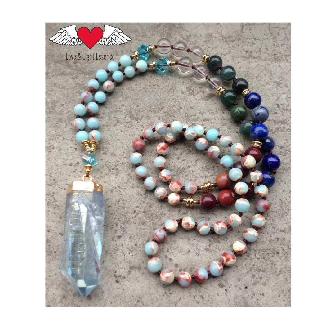 Aqua Blue Quartz Mala Necklace
