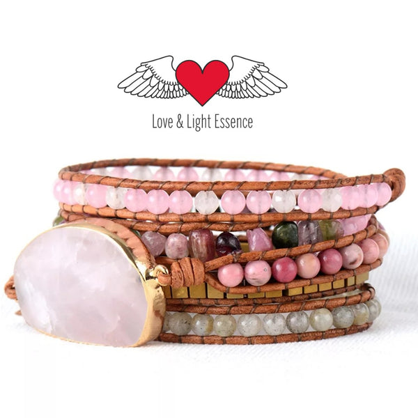 Gypsy Rose Quartz Wrap Bracelet