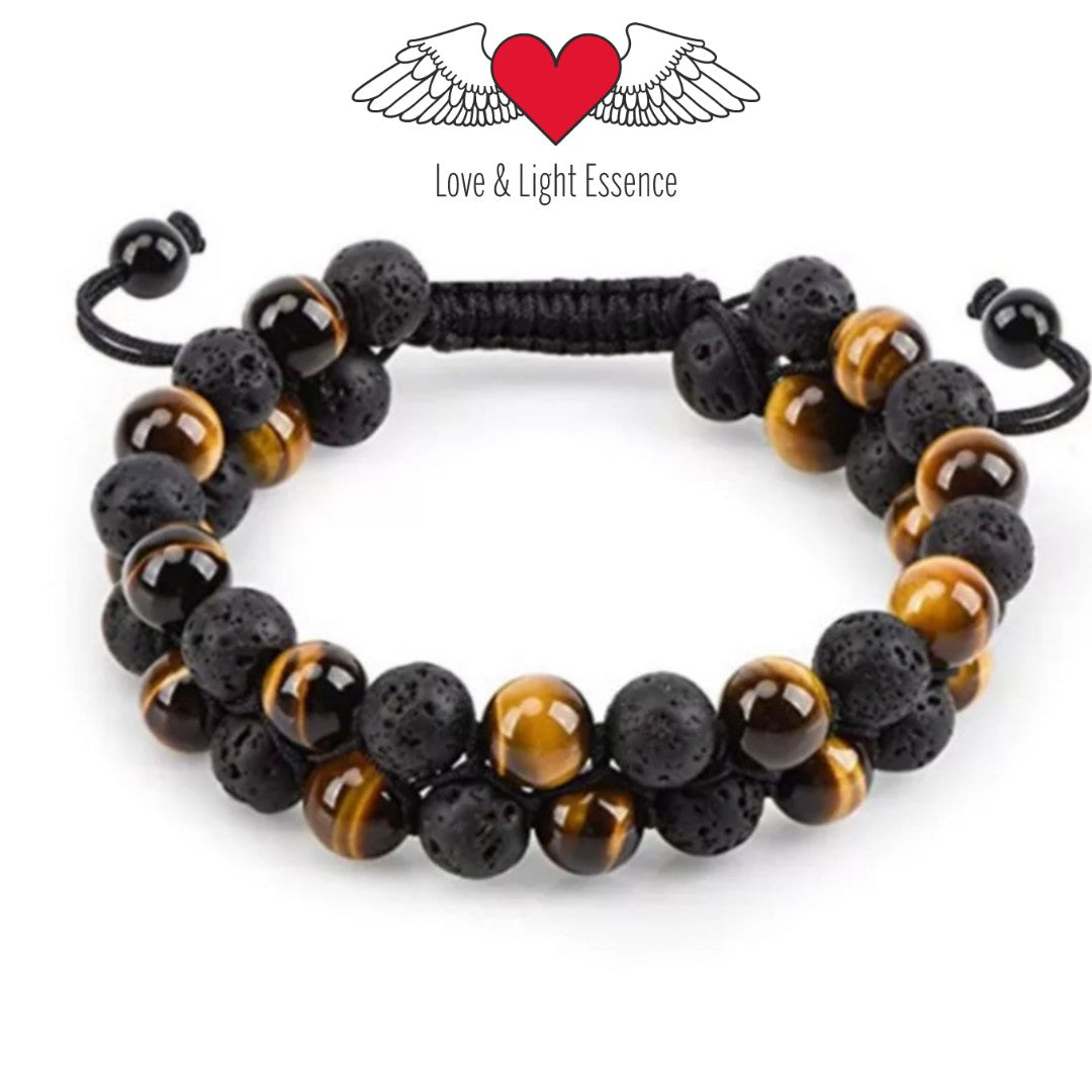 Lava Stone  & Tiger's Eye  Double Row Bracelet