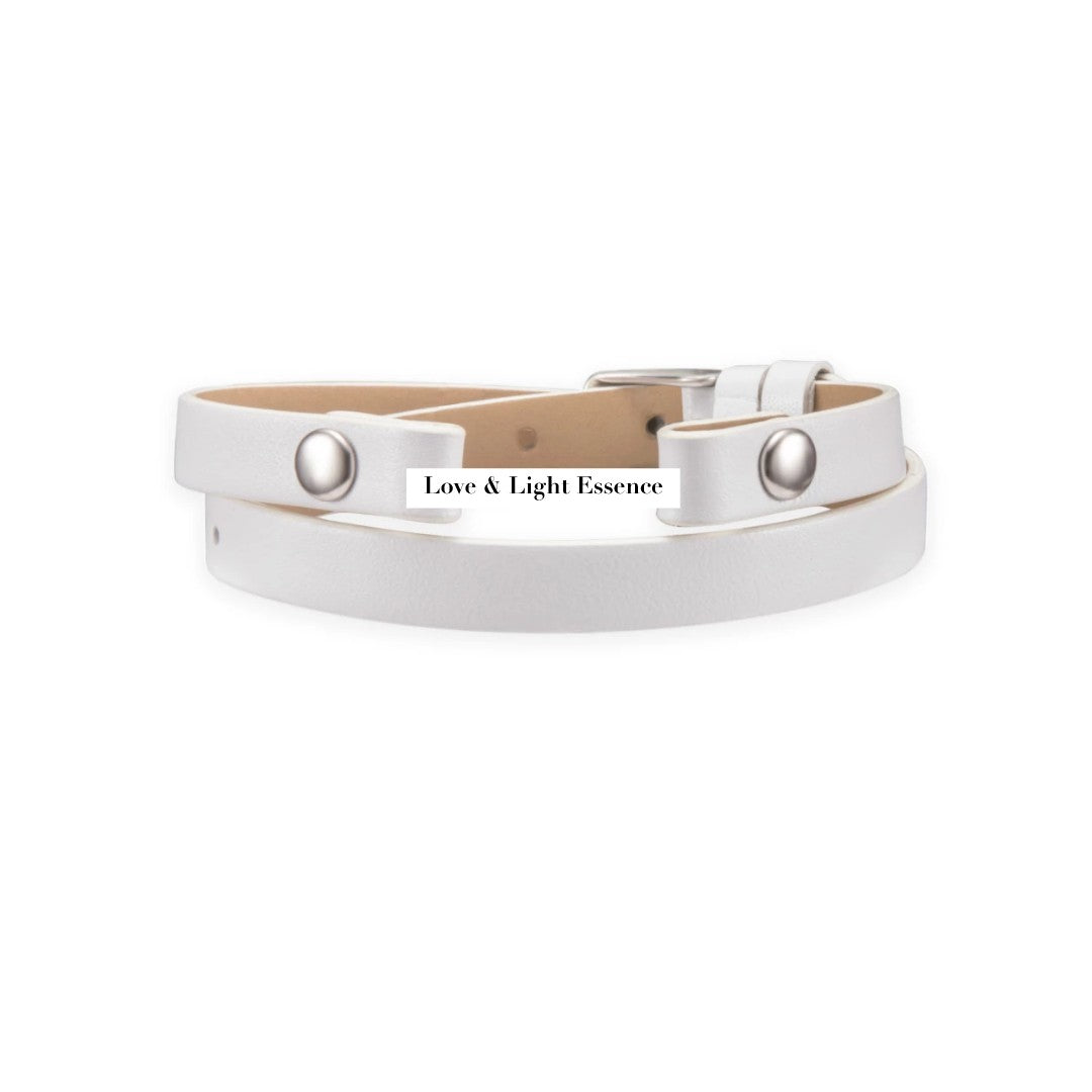 Leather Wrap Band- White