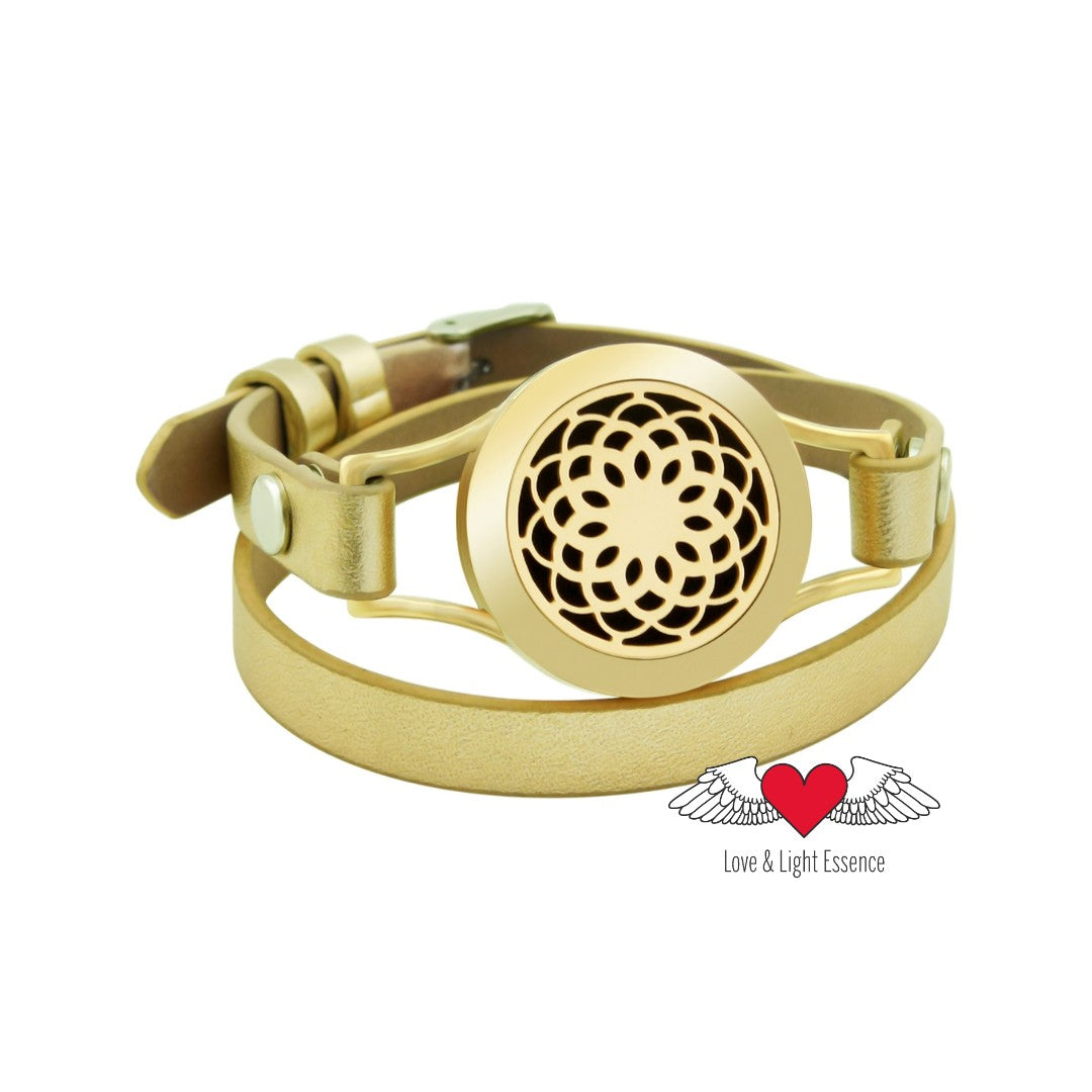 Gold Essential Oil Diffuser Leather Bracelet - Lotus Flower