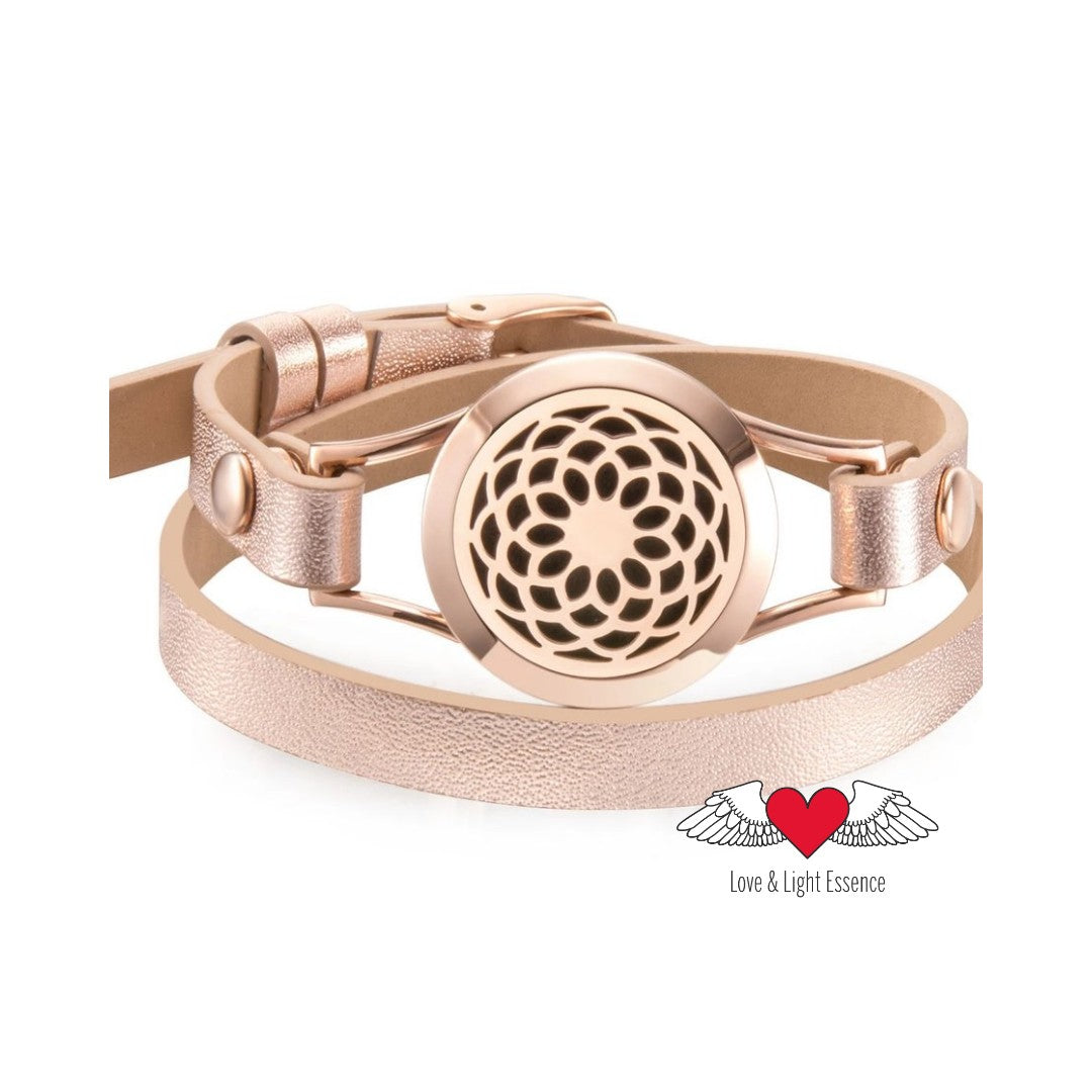 Rose Gold Essential Oil Diffuser Leather Bracelet - Lotus Flower