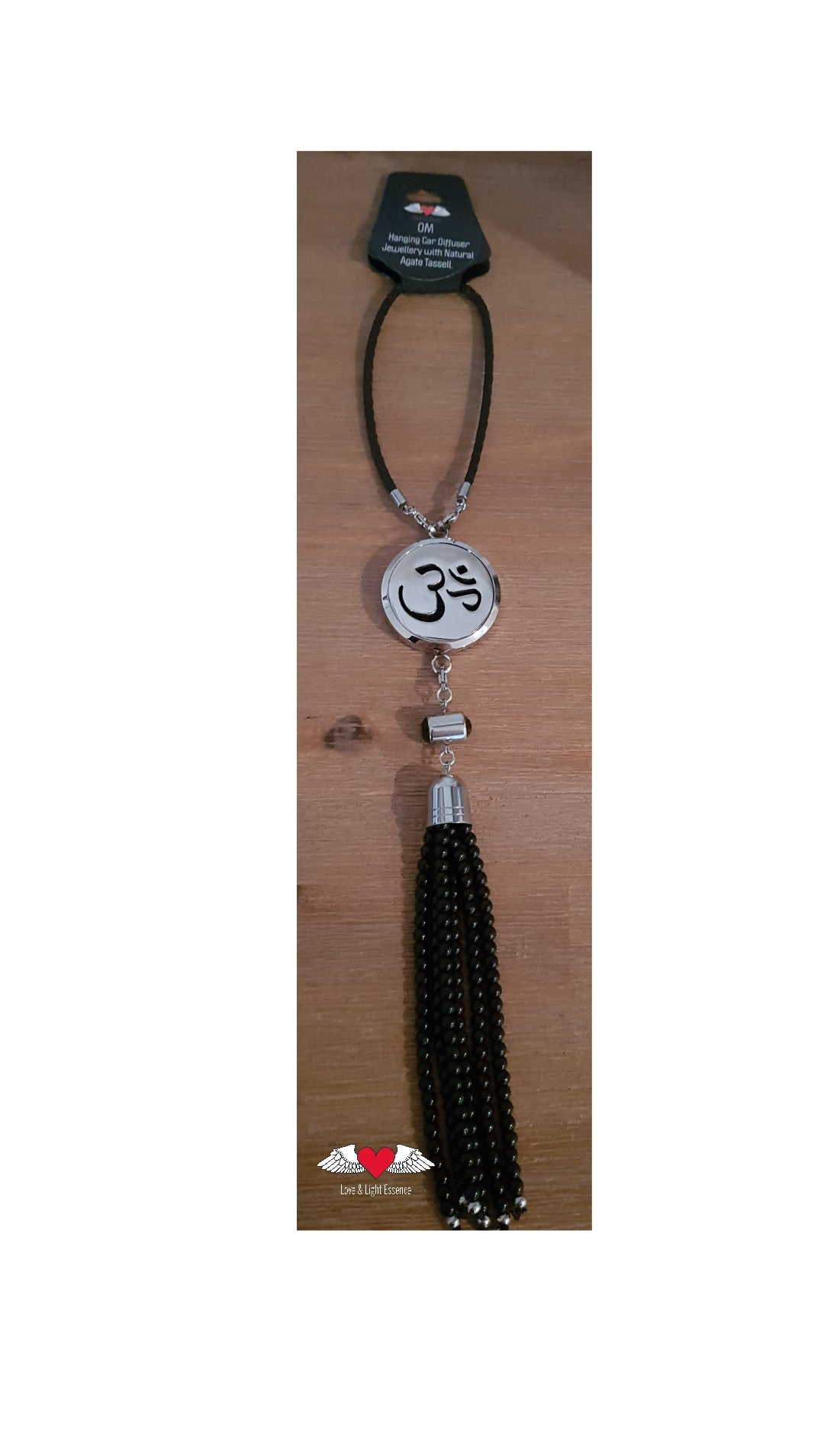 Hanging OM Car  Diffuser with Natural Agate Tassell