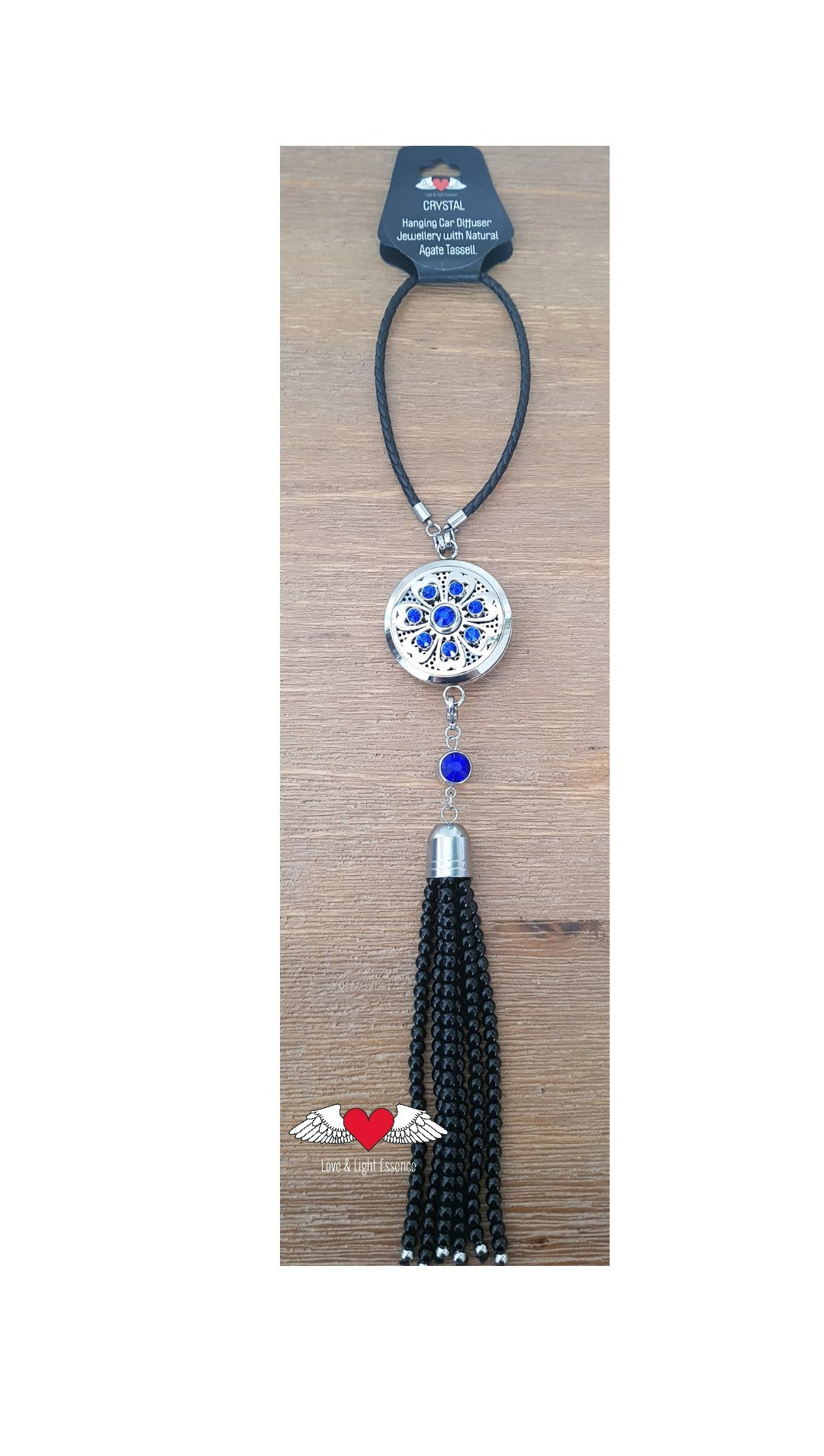 Crystal Car Diffuser with Natural Agate Tassell- Blue