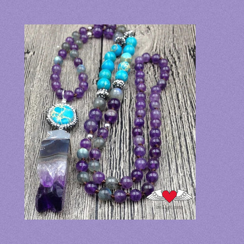 108 Mala Amethyst & Turquoise Crystal Necklace