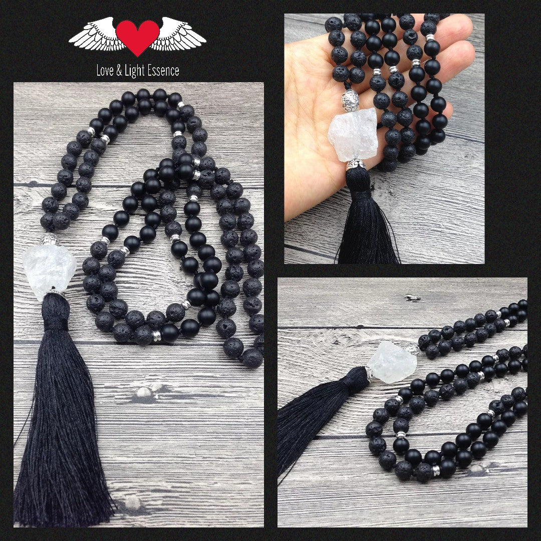 108 Mala Lava Stone, Black Agate & Clear Quartz Crystal Necklace