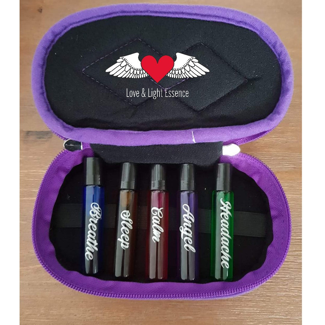 5 x 10ml Essential Oil Roll ons with travel case