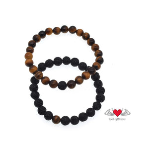 Couples Yin/ Yang Bracelet Sets - Lava Stone & Tiger's Eye