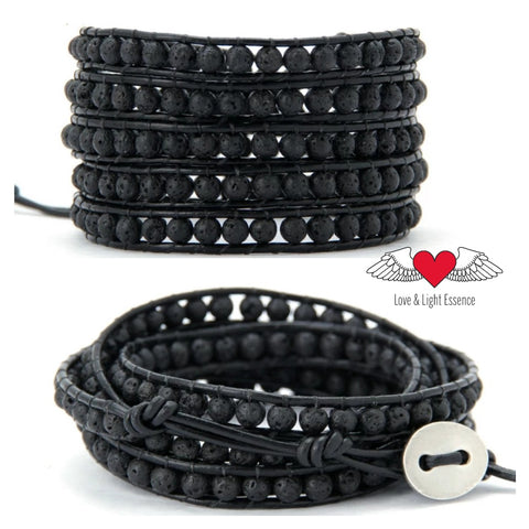 Genuine Leather & Lava Stone Wrap Bracelet