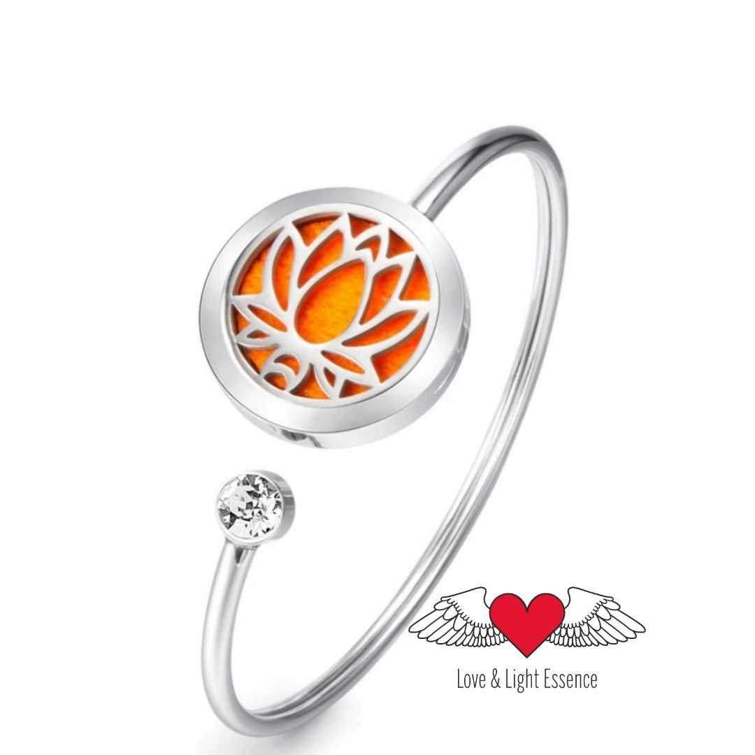 Diffuser Bangle- Lotus Flower with  Crystal