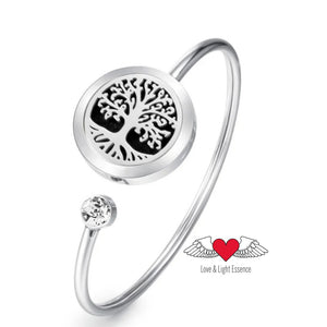 Diffuser Bangle- Tree of Life with  Crystal