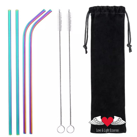 Eco Friendly 4Pcs Stainless Steel Rainbow Reusable Drinking Straws + 2 Cleaner Brushes and bag